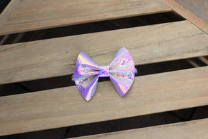 Dragon Skin - Holograph bow, iridescent textured bow, lavender nylon headband, clip, baby shower gift, baby accessories, toddler accessories