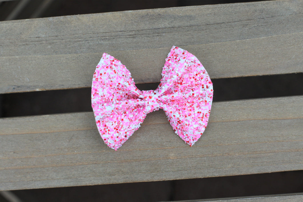 Ellen & Portia OG Standard - Hot Pink, Red & white glitter bow,  baby shower gift, baby accessories, toddler accessories, Baby's First Valentine's Day