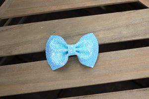 Elsa - Frozen inspired bow, icy blue glitter bow, icy blue glitter headband, baby shower gift, baby accessories, tan nylon headband, clip, toddler accessories