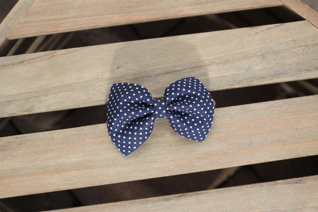 Emma Navy - Navy bow with white polka dots, Navy cotton bow, tan nylon headband, baby shower gift, baby gift, baby accessories, toddler accessories