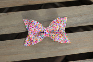 Fruity Pebbles glitter bow - tan nylon headband, baby shower gift, baby gift, baby girl shower gift, baby accessories, toddler accessories