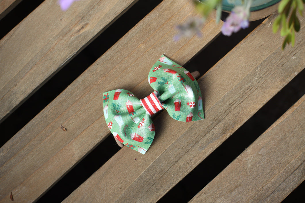 Peppermint Frappe Bow - tan nylon headband, Christmas bow, Baby's First Christmas, Baby Shower gift, Coffee Lover's bow, Baby Accessories, Toddler Accessories