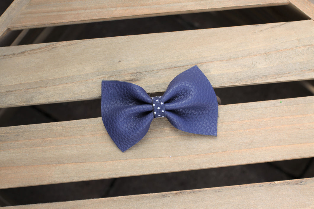 Navy Vegan Leather Bow - Navy blue vegan leather with polka dot center, tan nylon headband, baby gift, baby shower gift, baby accessories, toddler accessories