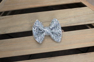 Silver Tinsel Bow - tan nylon headband, Christmas bow, Baby's First Christmas, Baby Shower gift, Baby Accessories, Toddler Accessories