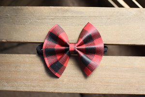 Charlie vegan leather - red buffalo plaid bow, black nylon headband, clip, baby shower gift, baby gift, baby accessories, toddler accessories