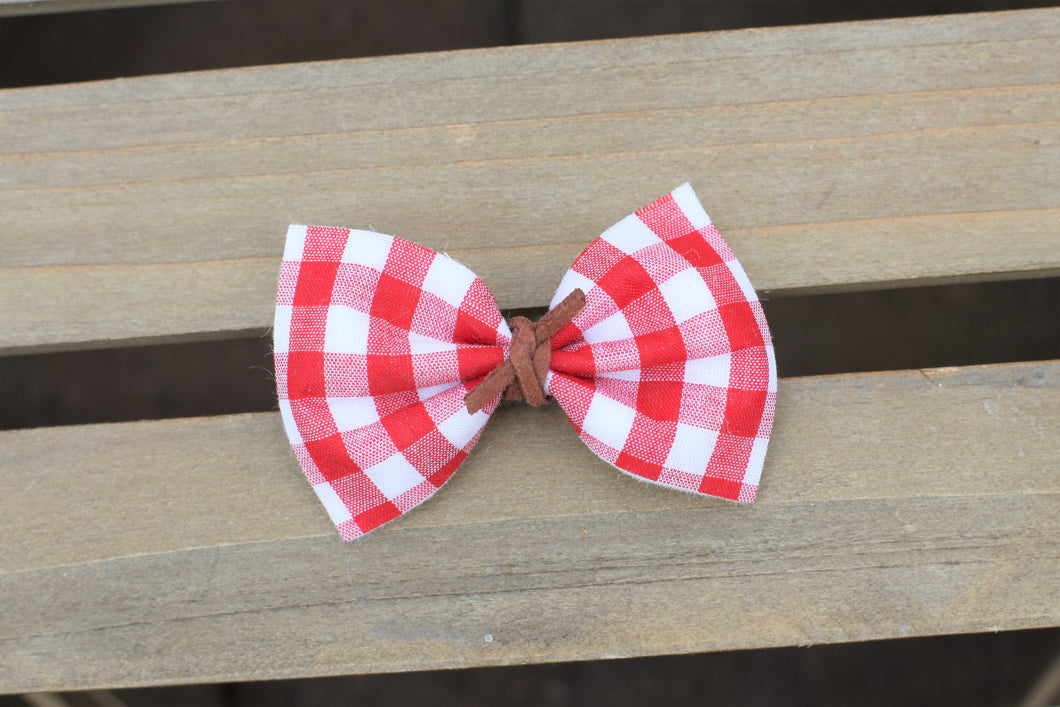 Bonnie with cinnamon knot suede - red gingham headband, red and white gingham headband, red bow, gingham headband, baby shower gift, baby girl accessories, toddler accessories