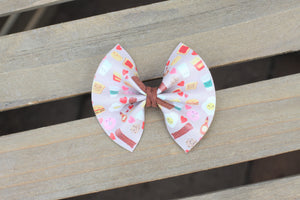The Ross & Rachel - Perfect Pairs Valentine's Day vegan leather bow, baby's first Valentine's Day, baby shower gift, baby girl, baby girl accessories, toddler accessories, tan nylon headband, clip