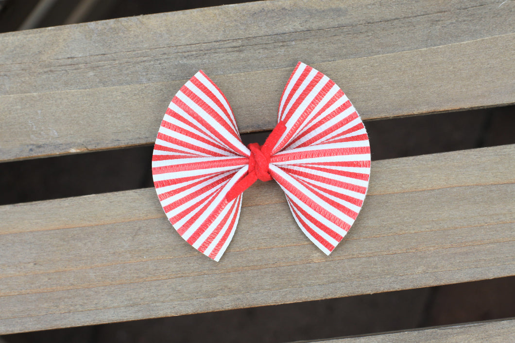 Mitch & Cam - red & white stripe with red suede knot, tan nylon headband, clip, baby shower gift, baby girl gift, baby accessories, toddler accessories, Baby's First Valentine's Day