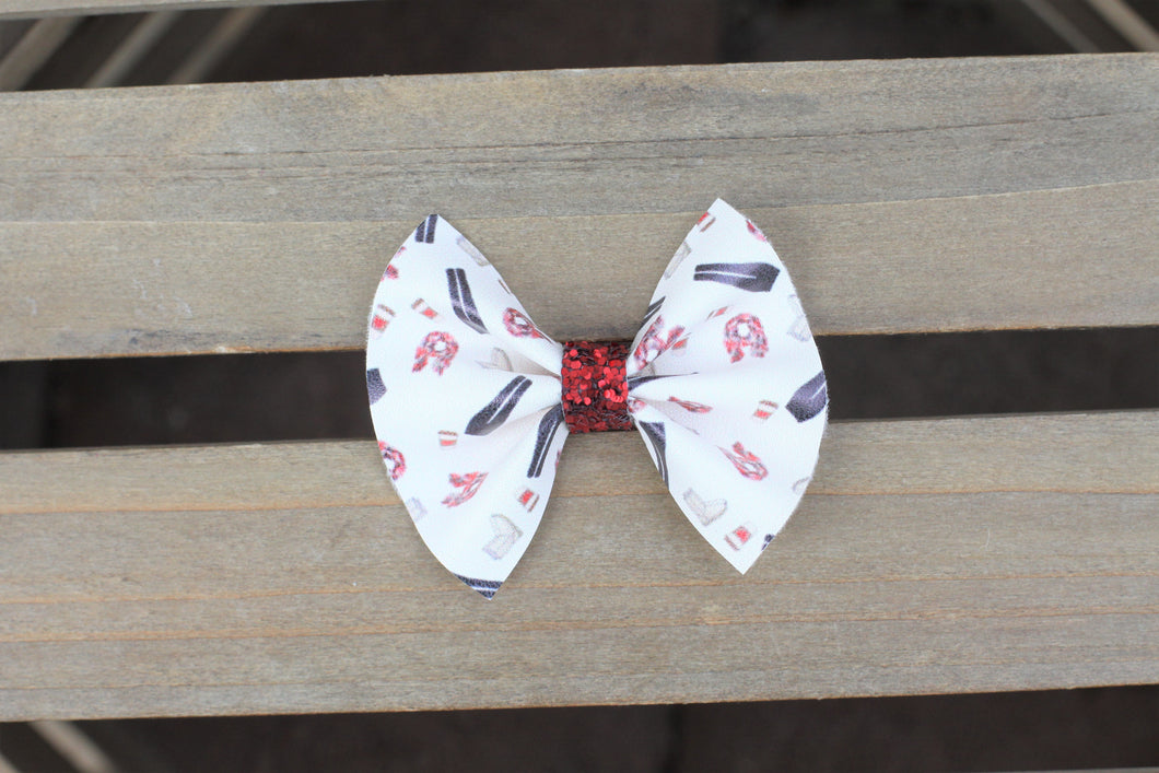 Basic Girl Winter - Vegan leather bow, clip, baby gift, baby accessories, toddler accessories,