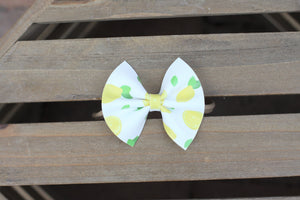Sweet Lemon - lemon vegan leather bow, tan nylon headband, baby shower gift, baby gift, baby accessories, toddler accessories