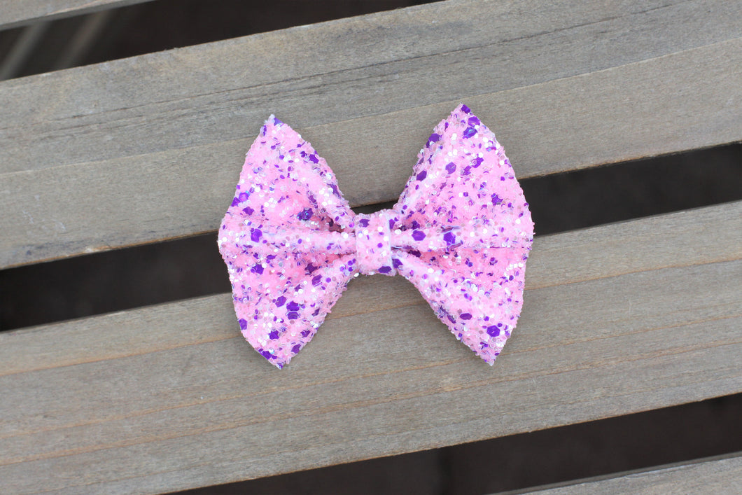 Blair & Chuck - Pink sparkle & purple glitter bow,  baby shower gift, tan nylon headband, clip, baby accessories, toddler accessories, Baby's First Valentine's Day
