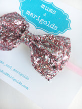 Grace - Pink and silver glitter bow, pink & silver glitter headband, pink baby headband, baby accessories, baby shower gift, toddler accessories
