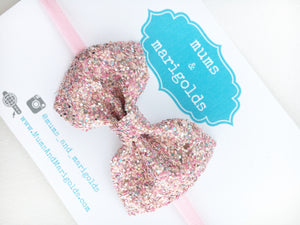 Amelia old school - pink glitter bow, pink bow, pink glitter headband, baby shower gift, baby girl gift, baby accessories, toddler accessories