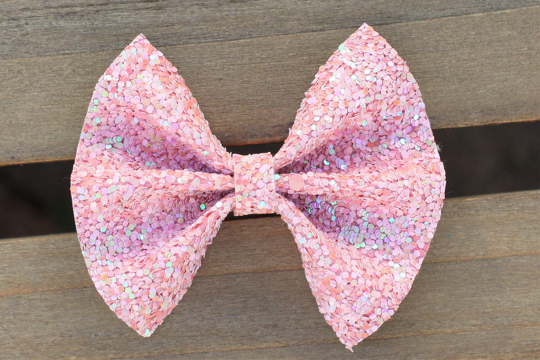 Mia - Pink Glitter bow, tan nylon headband, felt lined alligator clip, baby shower gift, baby accessories, toddler accessories