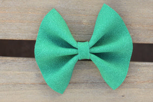 Kelly OG Standard - Green vegan suede, kelly green vegan suede bow, tan nylon headband, felt lined alligator clip, baby shower gift, baby accessories, toddler accessories, baby's first St. Patrick's Day