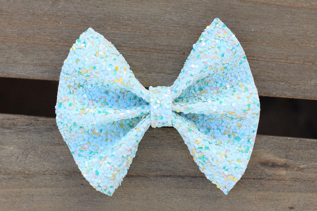 Aria - honeydew glitter, mint glitter bow, yellow glitter bow, spring bow, baby's first Easter, tan nylon headband, felt lined alligator clip, baby shower gift, baby accessories, toddler accessories