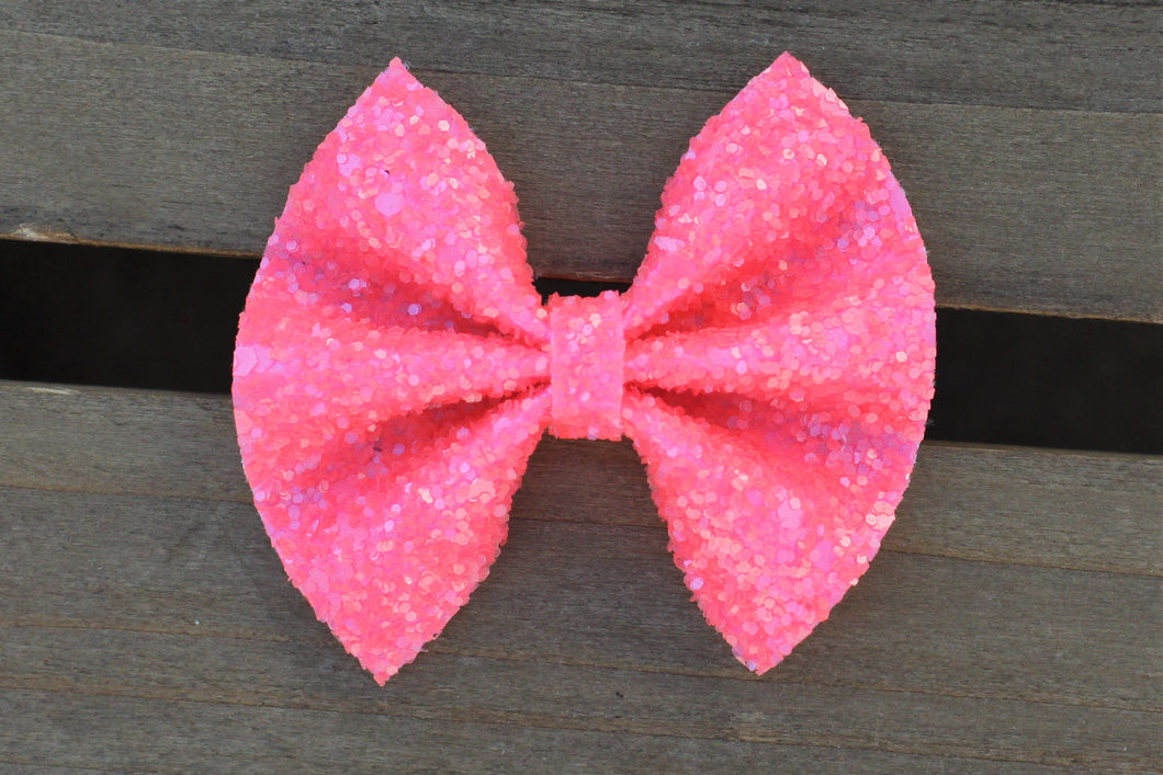 Evelyn - hot pink glitter bow, hot pink bow, tan nylon headband, felt lined alligator clip, baby shower gift, baby accessories, toddler accessories