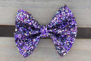 Laila Violet - violet glitter bow, purple glitter bow, black nylon headband, felt lined alligator clip, baby shower gift, baby accessories, toddler accessories