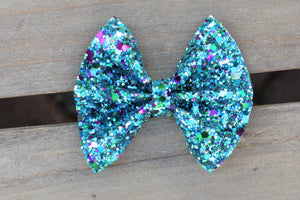 Luna - teal glitter bow, tan nylon headband, felt lined alligator clip, baby shower gift, baby accessories, toddler accessories