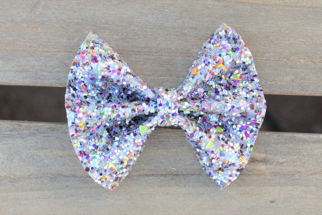 Laila Gray - gray glitter bow, black nylon headband, felt lined alligator clip, baby shower gift, baby accessories, toddler accessories