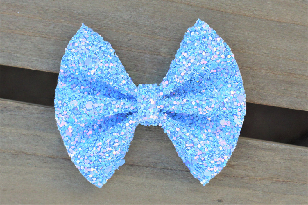 Zoey - sky blue glitter bow, tan nylon headband, felt lined alligator clip, baby shower gift, baby accessories, toddler accessories