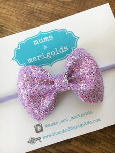 Mae Bow old school- Lavender glitter bow, lavender glitter headband, lavender baby headband, lavender toddler bow, baby shower gift, baby gift, baby accessories, toddler accessories