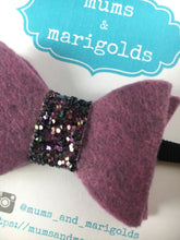 Purple Felt Boxy bow - Cool purple color felt bow with glitter center, black nylon headband, baby gift, baby shower gift, baby accessories, toddler accessories