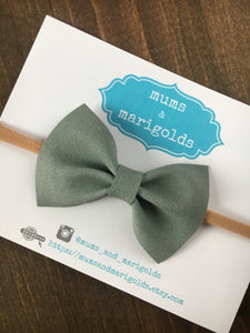 Clover - Sage green suede bow, sage green headband, baby gift, baby shower gift, baby accessories, toddler accessories