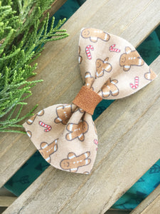 Lil' Gingerbread - tan nylon headband, Christmas bow, Baby's First Christmas, Baby Shower gift, Baby Accessories, Toddler Accessories