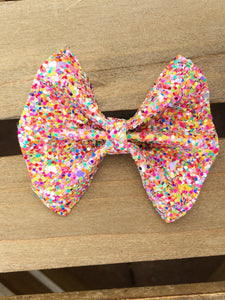 Brooklyn OG standard- Multicolored glitter bow, tan nylon headband, felt lined alligator clip, baby shower gift, baby accessories, toddler accessories