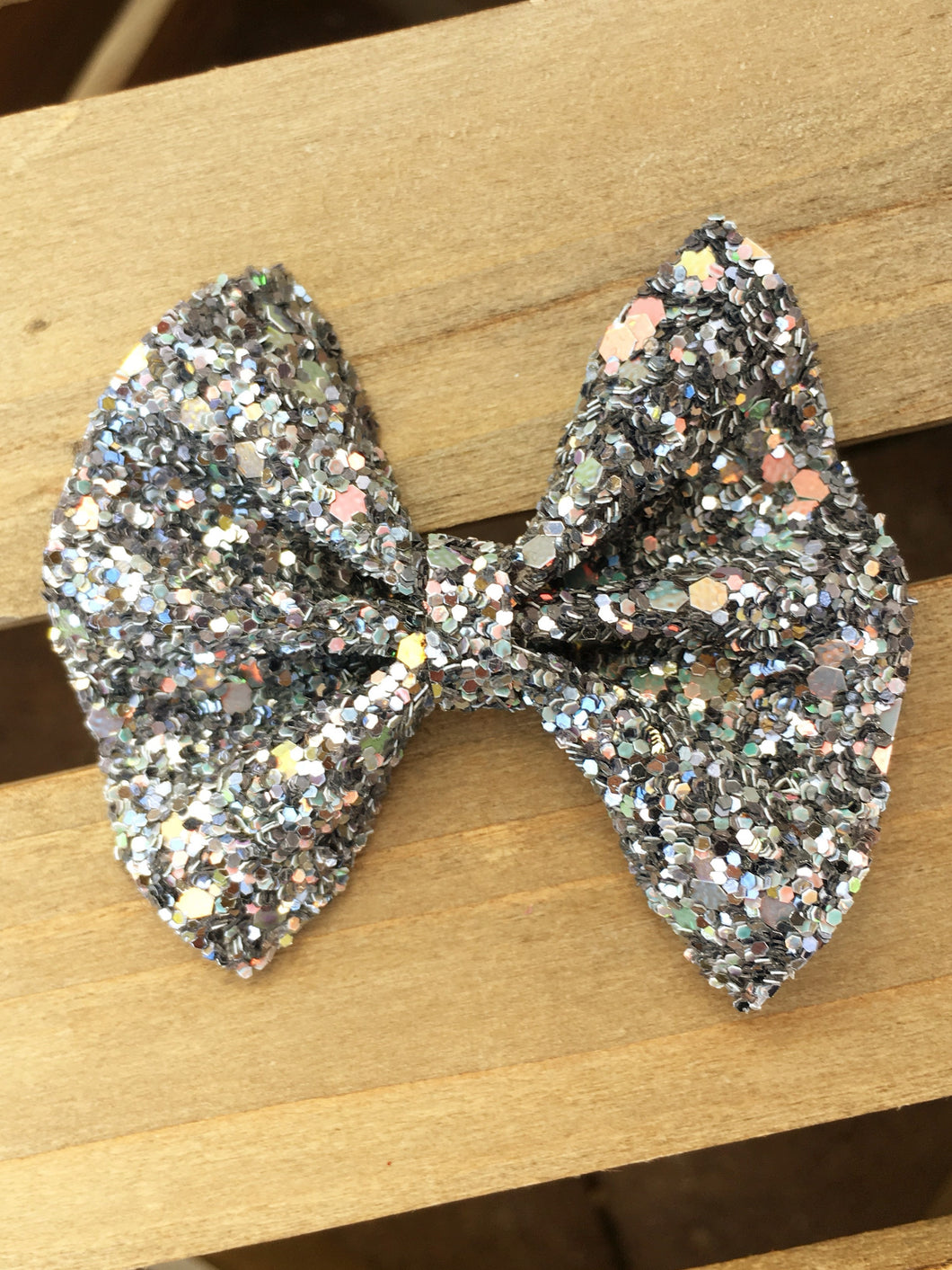 Claire OG Standard - Charcoal gray glitter bow, tan nylon headband, felt lined alligator clip, baby shower gift, baby accessories, toddler accessories