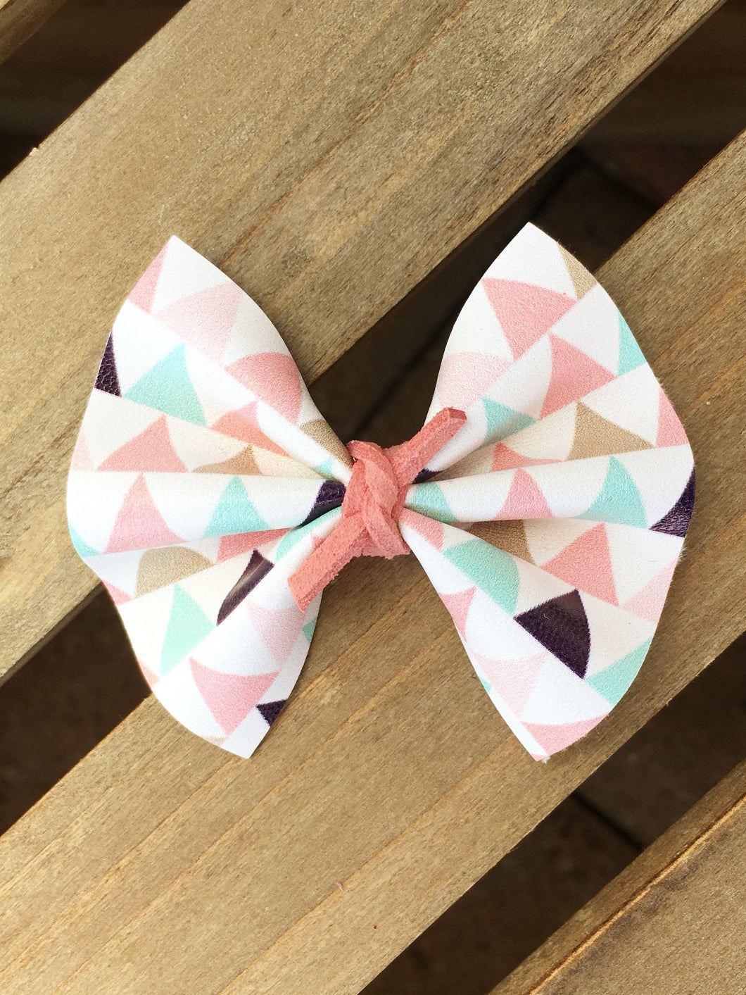 Sadie - pastel triangle print bow, boho bow, tan nylon headband, felt lined alligator clip, baby shower gift, baby accessories, toddler accessories