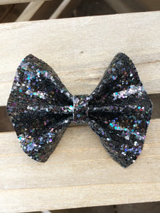 Kennedy OG Standard - black glitter, black galaxy glitter bow, black nylon headband, felt lined alligator clip, baby shower gift, baby accessories, toddler accessories