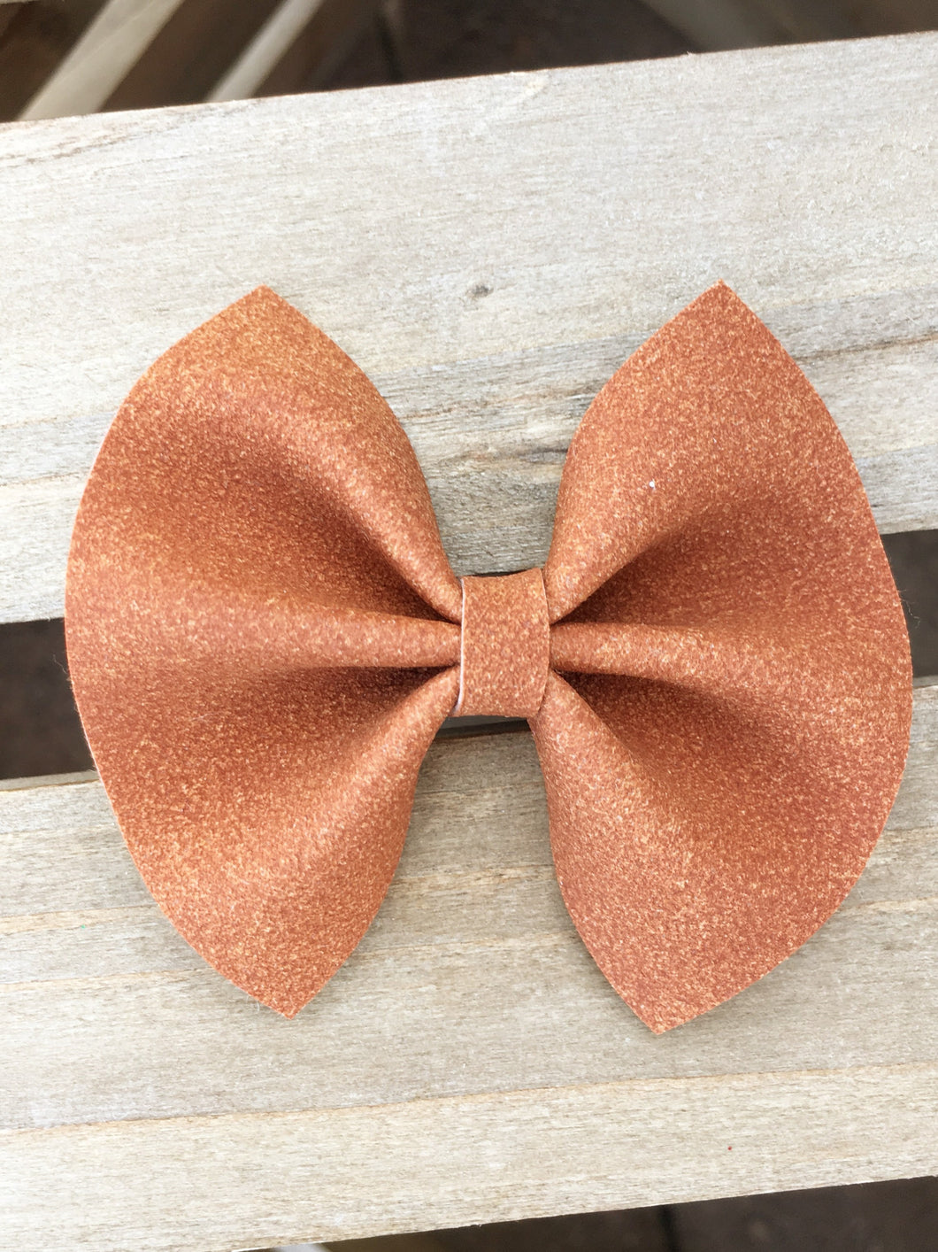 Madelyn OG Standard - cinnamon brown vegan suede bow, brown bow, cognac bow, tan nylon headband, felt lined alligator clip, baby shower gift, baby accessories, toddler accessories