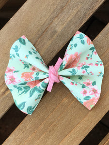 Ellie OG Standard - Mint green, coral & pink floral vegan leather, pink suede knot, pink nylon headband, felt lined alligator clip, baby shower gift, baby accessories, toddler accessories