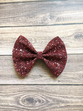 Ruby Sparkle XL - deep red glitter bow