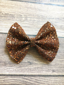 Amber sparkle - warm brown glitter bow