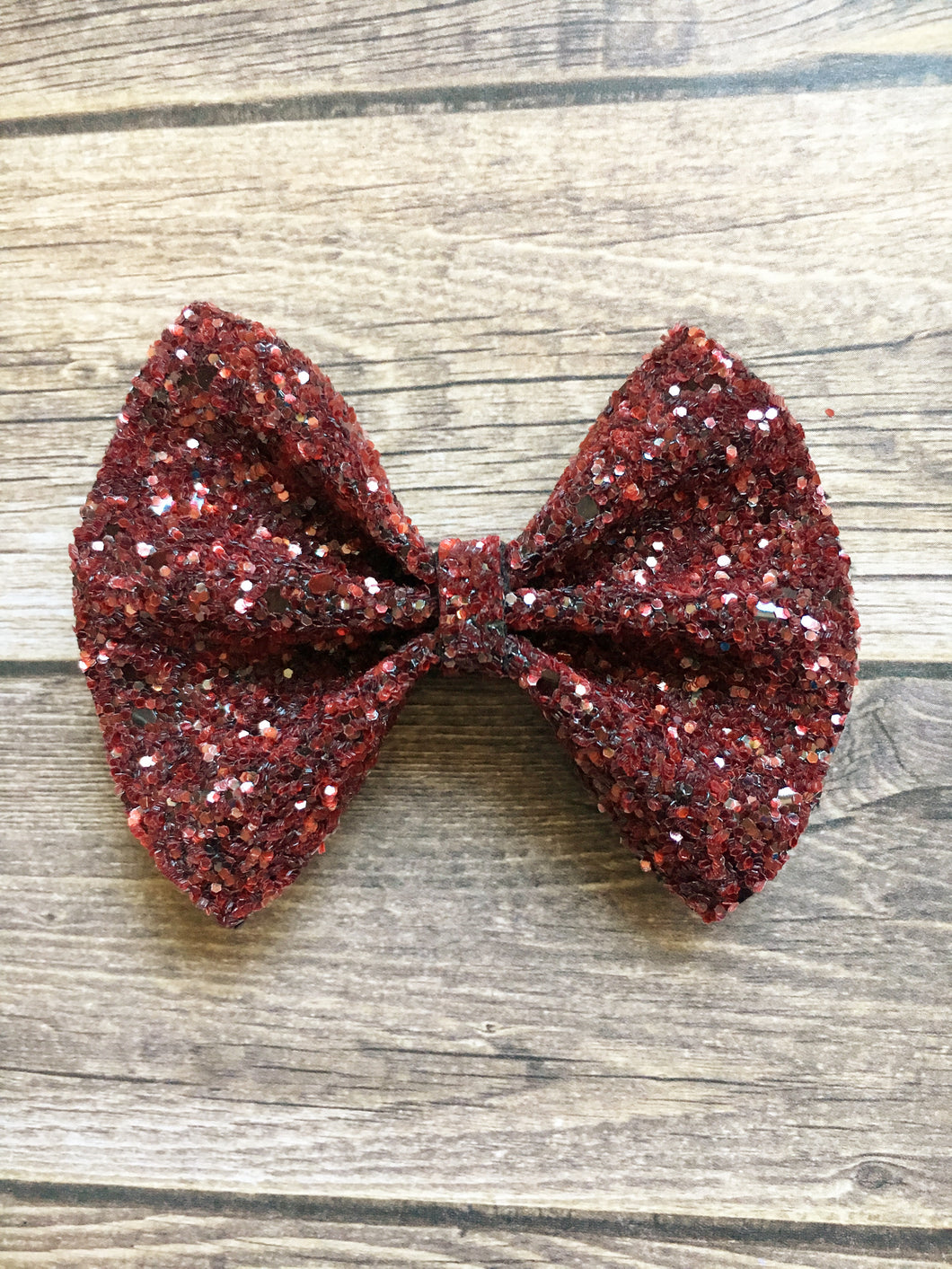 Ruby Sparkle - dark red glitter bow