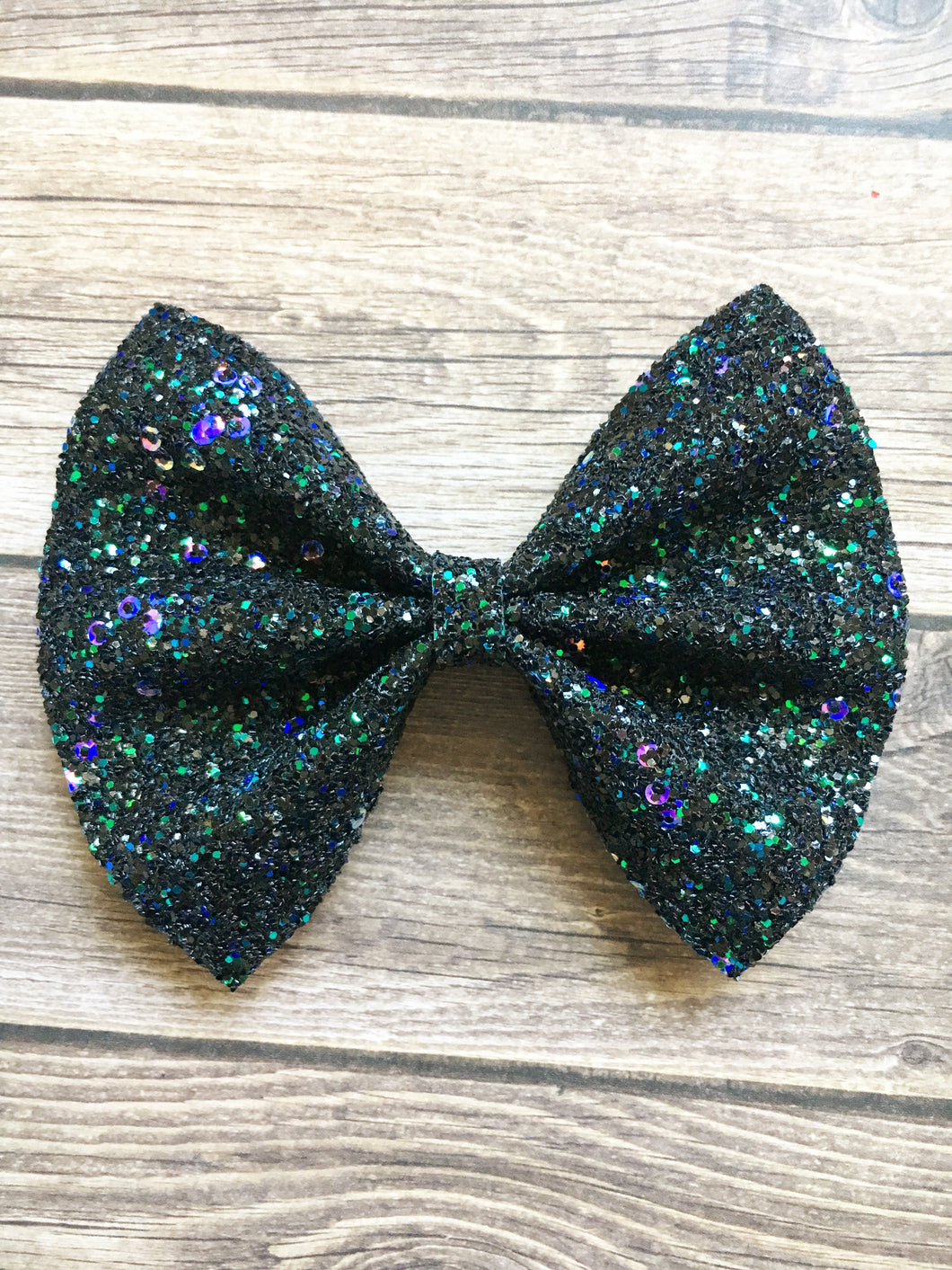 Angeline XL - black glitter & sequins bow