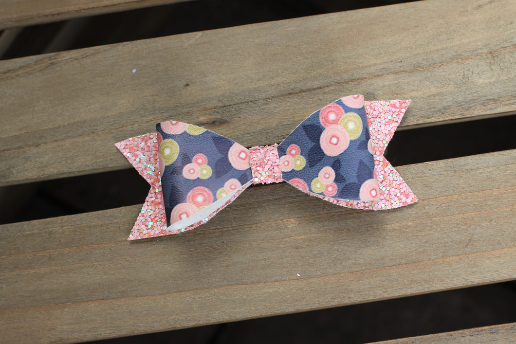 Indigo Ranunculas bow with Pink Glitter Accents - tan nylon headband, dark blue vegan leather bow with pink glitter accents, Baby shower gift, baby gift, toddler accessories, baby accessories