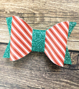 Joy - Peppermint stripe with teal glitter