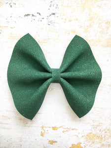 Laurel - Hunter green suede bow