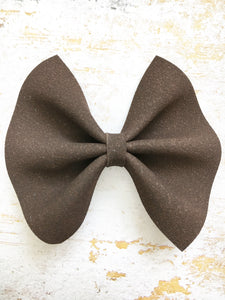 Orla - Espresso brown suede bow