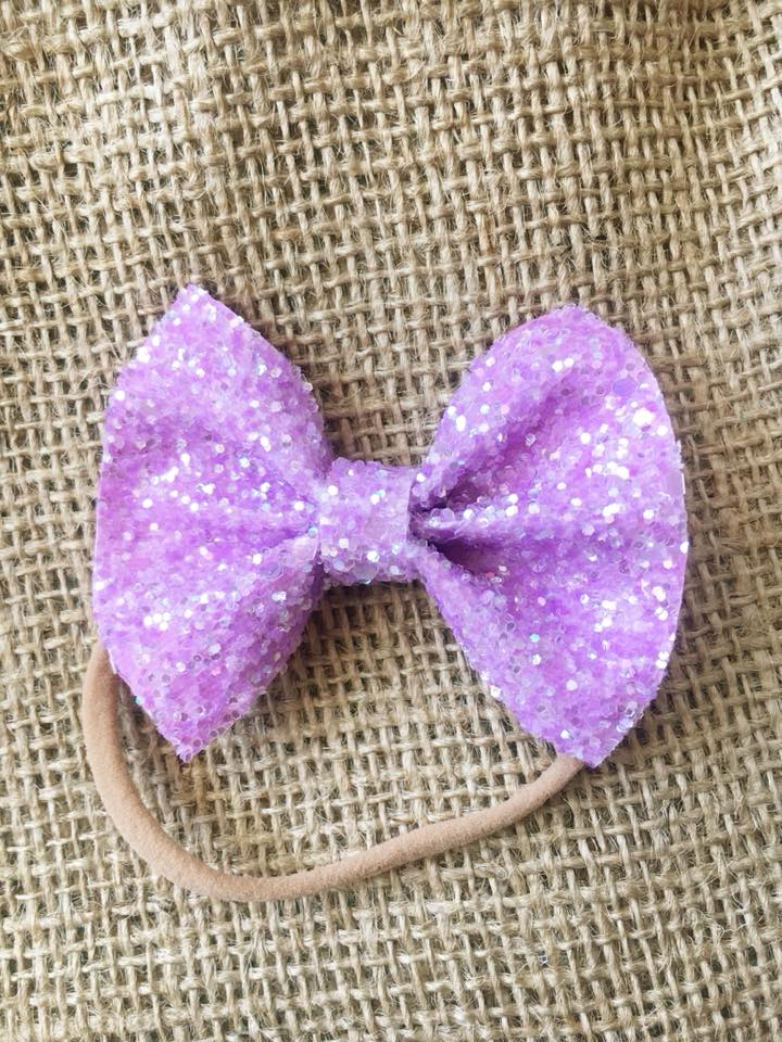 Petunia - warm lavender glitter bow, tan nylon headband, baby gift, baby shower gift, baby accessories, toddler accessories, purple bow