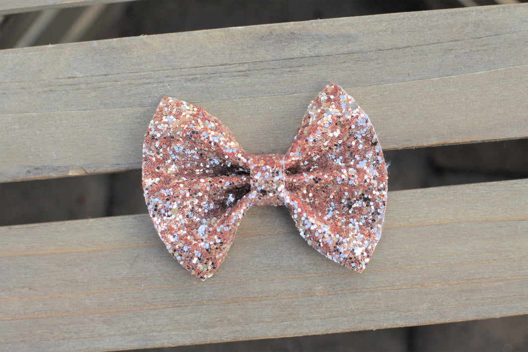 Rosetta OG Standard - Rose gold glitter bow, tan nylon headband, clip, baby shower gift, baby gift, baby accessories, toddler accessories