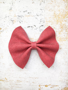 Ruby - cranberry glitter suede bow