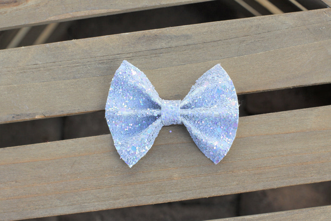 Silvermist - Gray iridescent glitter bow, tan nylon headband, clip, baby shower gift, baby accessories, toddler accessories