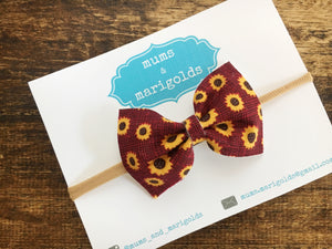 Kaia - Burgundy sunflowers bow, tan nylon headband, clip, baby shower gift, baby accessories, toddler accessories