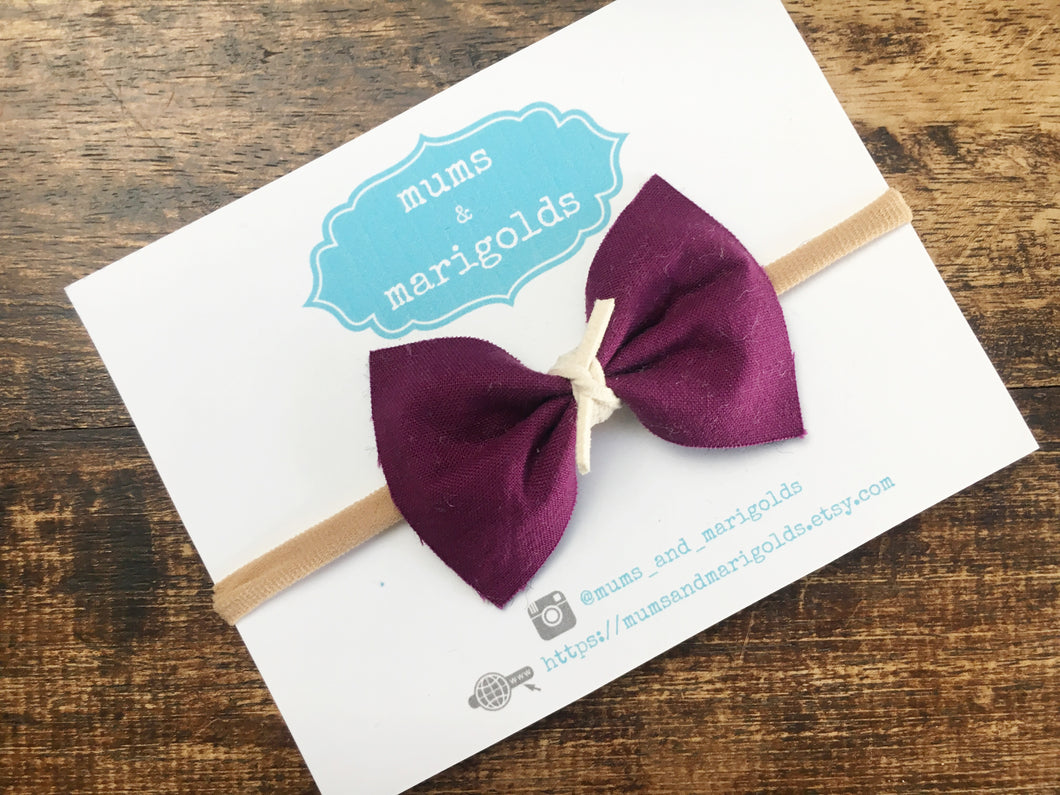 Madison - Berry colored cotton bow with ivory suede knot, tan nylon headband, baby shower gift, baby gift, toddler gift, toddler accessories