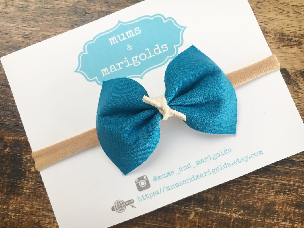 Madison Teal with ivory knot- Teal cotton bow, ivory vegan suede, tan nylon headband, clip, baby shower gift, baby gift, baby accessories, toddler accessories